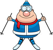 Happy Cartoon Skier. A cartoon illustration of a skiing man looking happy Stock Image