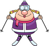Happy Cartoon Skier. A cartoon illustration of a skiing woman looking happy Stock Photography