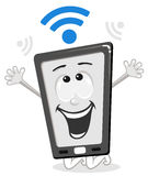 Happy cartoon smart phone with wi fi Stock Photos