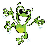 Happy cartoon smiling frog jumping excited. Happy cartoon green smiling frog jumping excited and spreading his arms and legs Stock Image