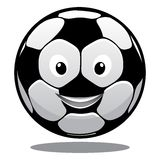 Happy cartoon smiling soccer ball Stock Photography