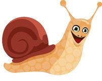 Happy cartoon snail Stock Photos