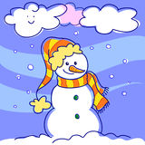 Happy cartoon snowman Royalty Free Stock Photos