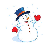 Happy cartoon snowman. Illustration of happy cartoon snowman in winter, white background royalty free illustration