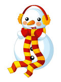 Happy cartoon snowmen - smiling and watching - isolated Royalty Free Stock Images