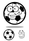 Happy cartoon soccer ball or football character Royalty Free Stock Images