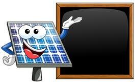Happy Cartoon solar panel presenting blackboard Stock Images