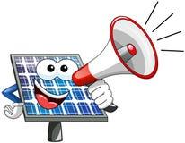 Happy Cartoon solar panel speaking megaphone Royalty Free Stock Image