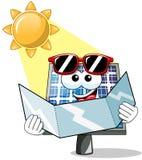 Happy Cartoon solar panel sunbathe Royalty Free Stock Photos