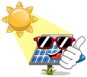 Happy Cartoon solar panel sunglasses sunbathe Stock Photo