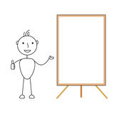 Happy cartoon stick man showing a blank whiteboard with thumbs up. Illustration pf happy cartoon stick man showing a blank whiteboard with thumbs up Stock Photos