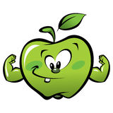 Happy cartoon strong green apple making a power gesture Stock Photography