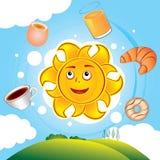 Happy cartoon sun cooked breakfast. Happy vector cartoon sun cooked breakfast over the hills Royalty Free Stock Images