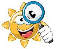 Happy cartoon sun looking magnifying isolated. On white Royalty Free Stock Image