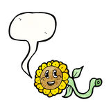 Happy cartoon sunflower Stock Photos