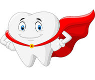 Happy cartoon superhero healthy tooth Royalty Free Stock Photography