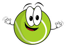 Happy cartoon tennis ball character Stock Photography