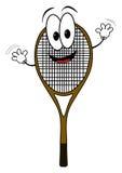 Happy cartoon tennis rack character Stock Photography