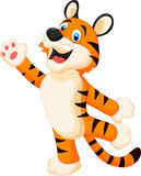 Happy cartoon tiger posing Stock Image