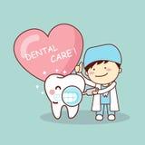 Happy cartoon tooth and dentist Stock Photos