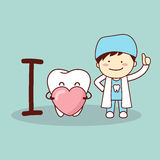 Happy cartoon tooth and dentist Royalty Free Stock Images