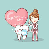 Happy cartoon tooth and dentist Royalty Free Stock Photography