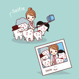Happy cartoon tooth family selfie Stock Photography