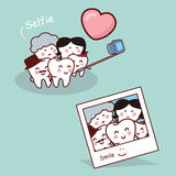 Happy cartoon tooth family selfie Royalty Free Stock Photography