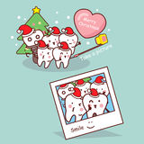 Happy cartoon tooth are selfie Stock Images