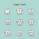 Happy cartoon tooth set Stock Photo