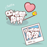Happy cartoon tooth take selfie Royalty Free Stock Images