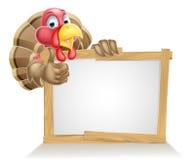 Happy Cartoon Turkey Sign Stock Image