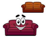 Happy cartoon upholstered couch. Happy and joyful cartoon of maroon upholstered couch of sofa with big smiley face and second brown upholstered couch without Stock Images