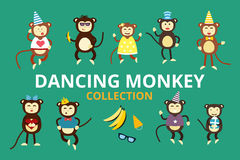 Happy cartoon vector monkey dancing party birthday Stock Images