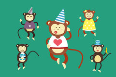 Happy cartoon vector monkey dancing party birthday Royalty Free Stock Image