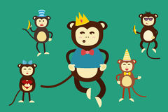 Happy cartoon vector monkey dancing party birthday Stock Image