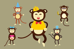 Happy cartoon vector monkey dancing party birthday Royalty Free Stock Photos