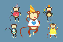 Happy cartoon vector monkey dancing party birthday Royalty Free Stock Photo
