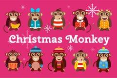 Happy cartoon vector monkey dancing party birthday Stock Photography