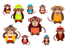 Happy cartoon vector monkey dancing party birthday Royalty Free Stock Images