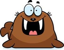 Happy Cartoon Walrus Stock Photo