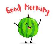 Happy cartoon watermelon. Good Morning card. Vector.  Royalty Free Stock Photography