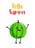 Happy cartoon watermelon. Hello Summer. Flat style. Vector background.  Stock Photo