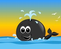 Happy cartoon whale, cdr vector. Happy cartoon whale in waves, vector format Royalty Free Stock Images