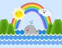 Happy cartoon whale, sun and cloud. Cute, happy cartoon whale, sun and cloud laughing Stock Photo