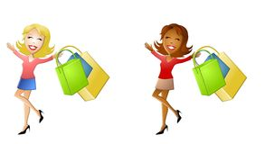 Happy Cartoon Women Shopping. An illustration featuring your choice of 2 women smiling and walking with shopping bags in hand Stock Images