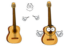Happy cartoon wooden acoustic guitar Stock Images