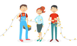 Happy  cartoon workers. Three  flat catoon employees of various professions wrapped in garland on white background Stock Images