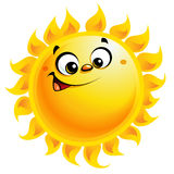 Happy cartoon yellow sun character smiling. Shining yellow smiling sun cartoon character as weather sign temperature Royalty Free Stock Photo