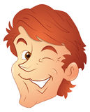 Eye Blink Happy Man Vector. Happy Cartoon Young Boy Face Closeup Expression Vector Illustration royalty free illustration
